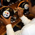 Troy Polamalu signing helmet